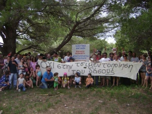 Locals protest against destruction of the forest in Elaia